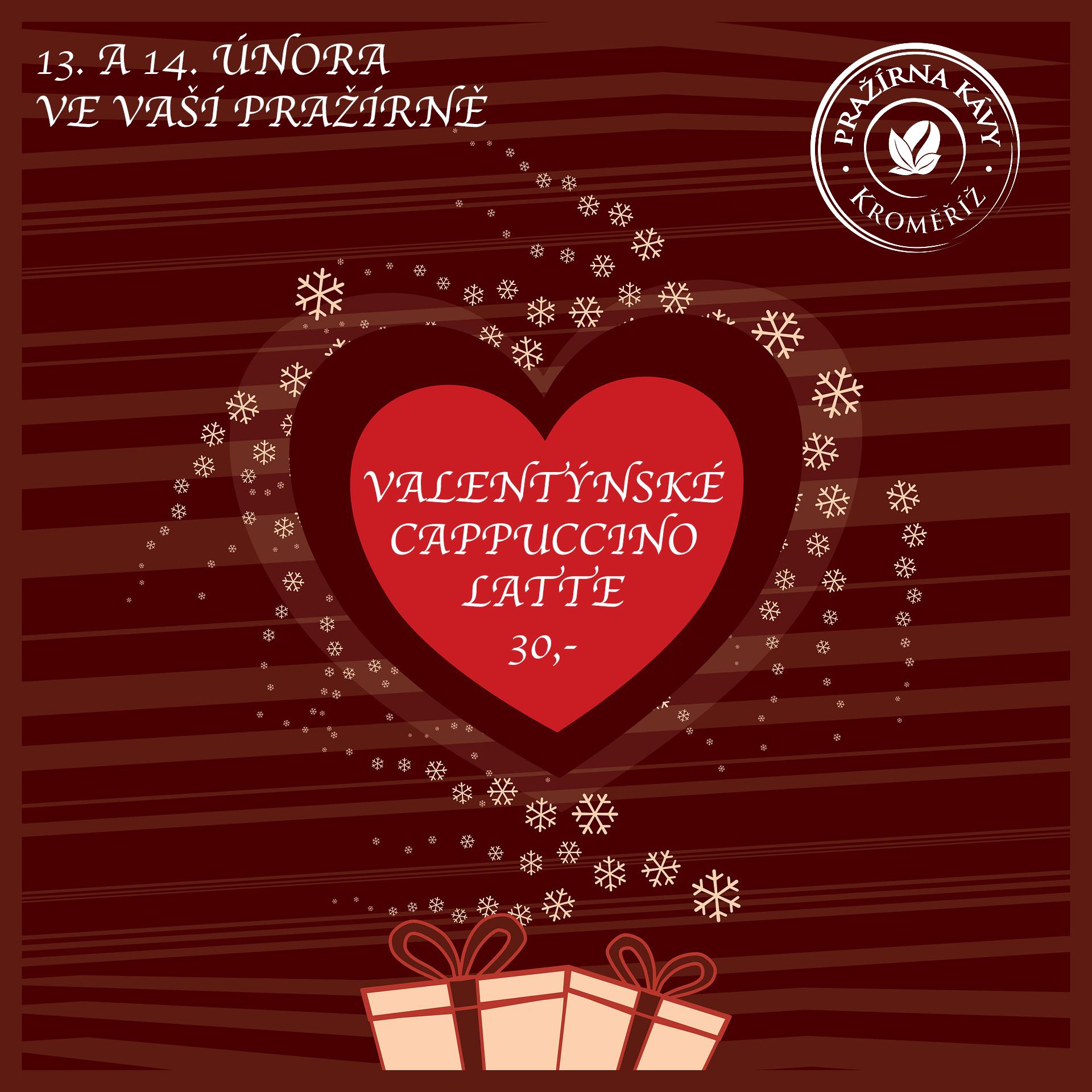 Valentýnské latte za 30,- ... již tento čtvrtek a pátek